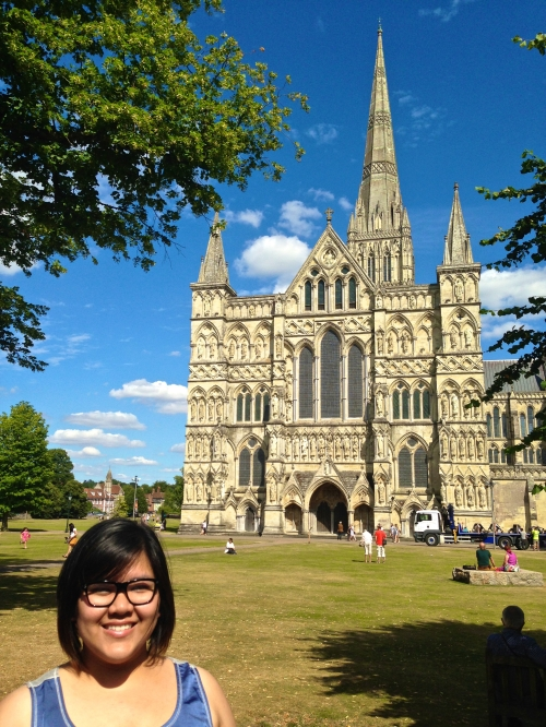 Myself and Salisbury Cathedral in all its glory. (Nikon S9700)