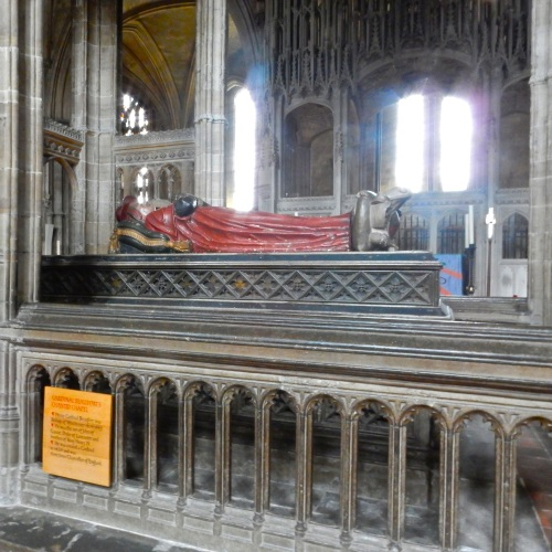 The tomb of Cardinal Henry Beaufort, a bastard son of John of Gaunt (of the Royal House of Plantagenet) that was later legitimized and rose through the church. It was Henry who presided over the trial of Joan of Arc, which later found her guilty and sentenced her to burn at the stake. (Nikon S9700)