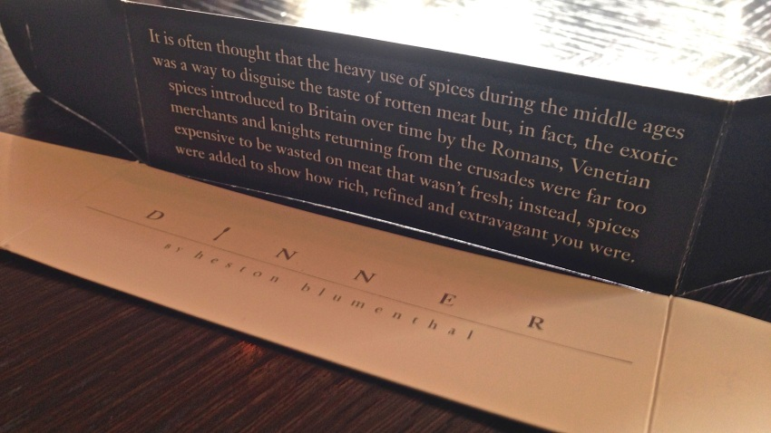 """Every menu is """"sealed"""" by a Dinner logo, and inside each one is a different historical factoid you then get to keep.  (iPhone 5)"""
