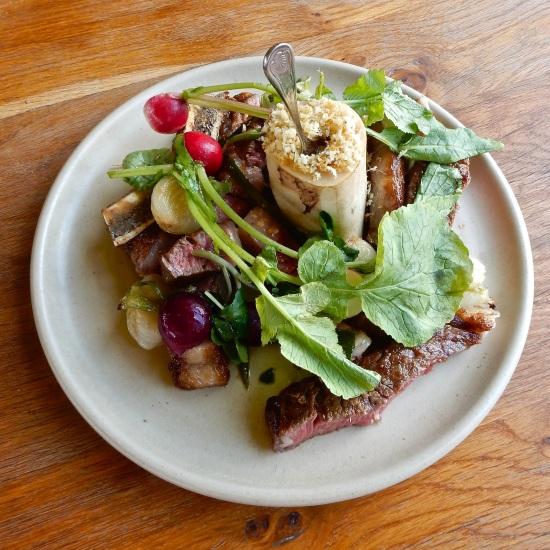 500g Longhorn Rib Eye from Thirsk roast grelot onions, heritage radish, marmite hollandaise