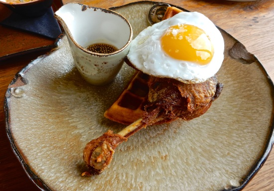 Duck & Waffle crispy leg confit, fried duck egg, mustard maple syrup
