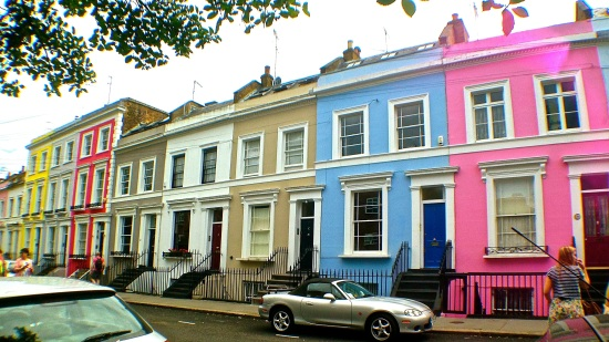 The famous coloured homes in Notting Hill. (iPhone 5)