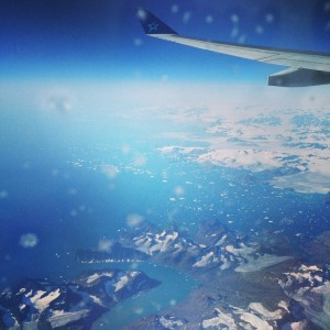 Ice on the window as we fly over Greenland, August 2014.