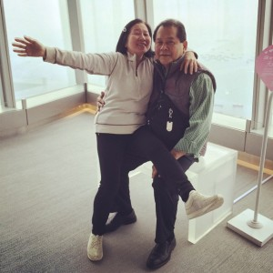 Mom and Dad being goofballs at the Sky100 Observation Deck, Hong Kong, December 2014.