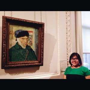 With Van Gogh at the Courtauld Gallery, London, August 2014.