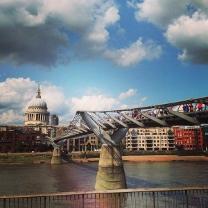 The view of St. Paul's Cathedral & Millennium Bridge from the Southbank, by the Tate Modern. London, August 2014.