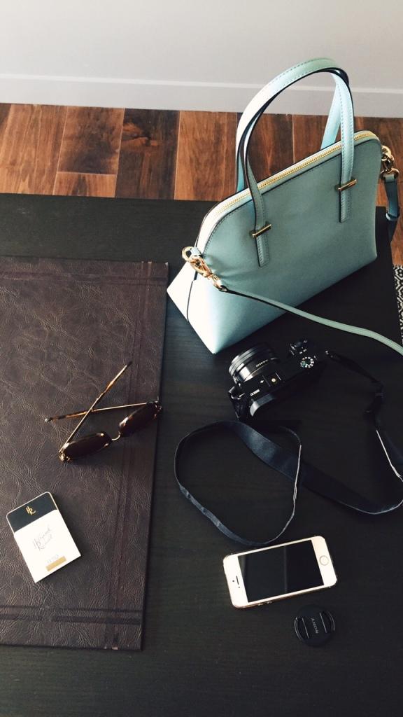 Purse, cam, shades, mobile, keycard. The essentials.