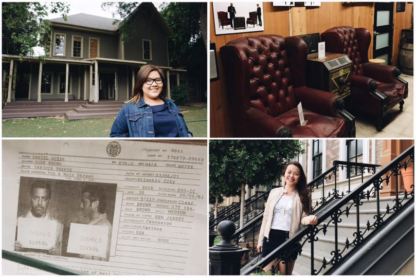 Clockwise from top left: 1: Currently used as one of the houses for PLL, this house was also Lorelai & Rory's from Gilmore Girls. 2: The two seats Morpheus & Neo sat in, in The Matrix. 3: Karrie posing by some (fake!) brownstones. 4: A prop document depicting Danny Ocean from Ocean's Eleven.